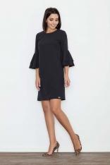 Czarna Elegancka Sukienka z Hiszpańskim Rękawem