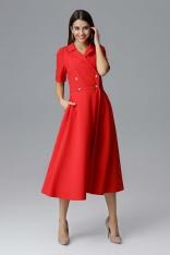 Czerwona Rozkloszowana Wizytowa Sukienka Żakietowa
