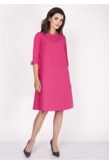 Różowa Sukienka Trapezowa Mini z Uroczymi Kokardkami