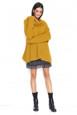 Musztardowy Oversizowy Sweter z Wywijanym Golfem