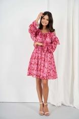 Wzorzysta Sukienka z Odkrytymi Ramionami - Wzór 17