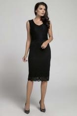 Czarna Dopasowana Sukienka Koronkowa bez Rękawów
