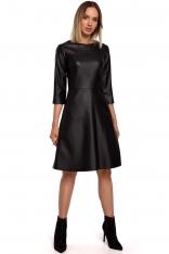 Czarna Rozkloszowana Sukienka z Eko-skóry