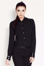 Czarna Klasyczna Koszula z Kołnierzykiem z Eko-skóry