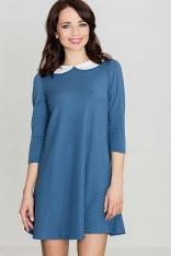 Niebieska Wizytowa Sukienka z Białym Kołnierzykiem
