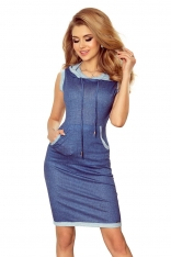 Jasno niebieska Sportowa Sukienka z Kapturem i Kieszenią Kangurką