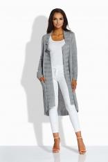 Jasnoszary Długi Sweter-Narzutka z Kieszeniami