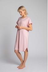 Wiskozowa Koszula Nocna z Falbankami - Różowa