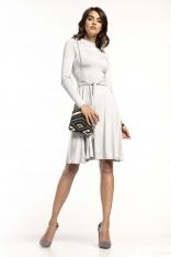 Jasnoszara Rozkloszowana Sukienka z Golfikiem