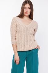 Beżowy Luźny Sweter o Warkoczowym Splocie z Dekoltem V