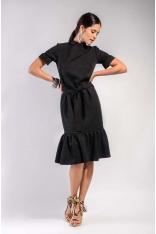Czarna Midi Sukienka na Stójce z Falbankami