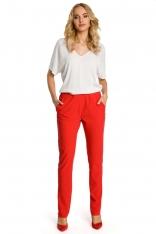 Czerwone Spodnie Casualowe z Lampasem