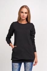 Czarna Dłuższa Nierozpinana Bluza z Kieszeniami