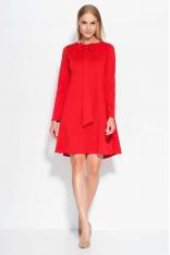 Czerwona Sukienka Trapezowa z Krawatką i Kokardą
