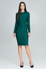 Zielona Wyjściowa Prosta Sukienka z Lejącym Dekoltem