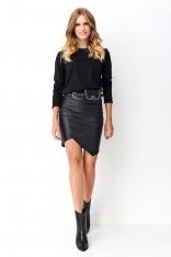 Czarna Sukienka Mini z Łączonych Materiałów