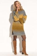 Żółta Swetrowa Stylowa Sukienka z Bufiastym Rękawem