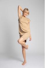 Sukienka z Bawełny Prążkowanej bez Rękawów - Cappuccino