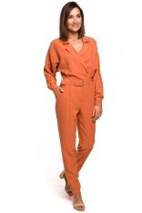 Pomarańczowy Elegancki Kombinezon z Wykładanym Kołnierzem