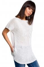 Biały Letni Sweter z Krótkim Rękawem z Aplikacją