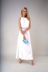 Elegancka Długa Sukienka z Wycięciem na Plecach - Ecru