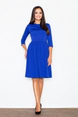 Elegancka Niebieska Sukienka z Szerokim Dołem