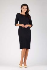 Czarna Elegancka Dopasowana Sukienka ze Spinką przy Dekolcie