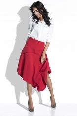 Czerwona Spódnica Asymetryczna Midi