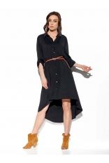 Czarna Asymetryczna Sukienka Koszulowa