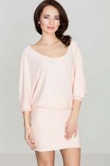Różowa Casualowa Zbluzowana Sukienka Mini z Długim Rękawem