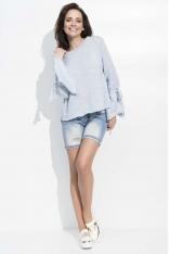 Błękitny Luźny Sweter z Wiązaniem na Rękawach