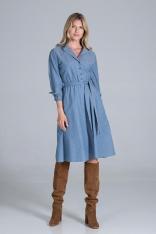 Rozkloszowana Sukienka na Guziki z Żakietowym  Kołnierzykiem - Niebieska