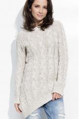 Beżowy Melanżowy Sweter z Ozdobnymi Warkoczami