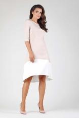 Beżowa Wyjściowa Asymetryczna Sukienka z Kontrastowym Dołem