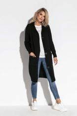 Czarny Długi Sweter Zapinany na Guziki