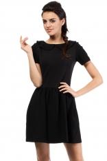 Czarna Dzianinowa Sukienka z Uroczym Kołnierzykiem BEBE z Krótkim Rękawem