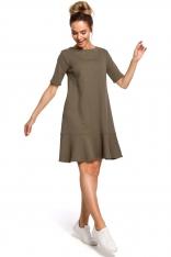 Zielona Romantyczna Sukienka z Wiązaniem na Karku o Kroju Litery A