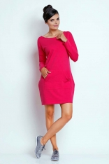 Różowa Prosta Dresowa Sukienka z Kieszenią Kangurką