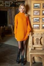 Pomarańczowa Swetrowa Sukienka - Tunika z Półgolfem