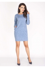 Niebieska Sukienka Melanżowa Prosta Mini z Kieszeniami