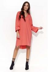 Koralowa Oversizowa Sukienka z Szerokim Rękawem Typu Kimono