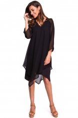 Czarna Asymetryczna Sukienka Dwuwarstwowa z Dzwonkowym Rękawem