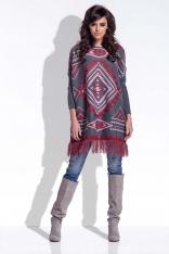 Czerwony Luźny Sweter z Frędzlami w Azteckie Wzory