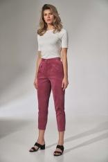 Sztruksowe Spodnie z Zakładkami - Różowe