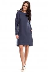 Niebieska Sukienka Trapezowa z Kieszeniami