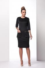 Czarna Wizytowa Sukienka z Kieszeniami na Suwak