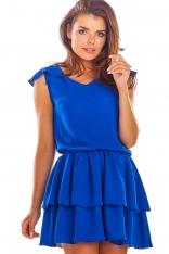 Niebieska Zwiewna Letnia Sukienka z Falbankami