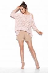 Ażurowy Sweter z Wyciętymi Ramionami - Różowy