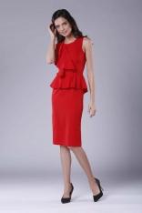 Czerwona Wizytowo-Koktajlowa Sukienka z Baskinką