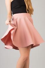 Pudrowa Modnie Rozkloszowana Spódnica Mini